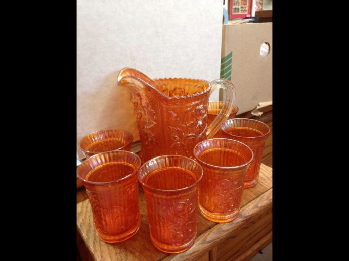Carnival Glass Pitcher/ Glasses